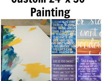 """Custom 24"""" x 36"""" Canvas. Any colors. ANY wording!  Select your background. Word Art. Custom Wall Art. Custom Quote"""