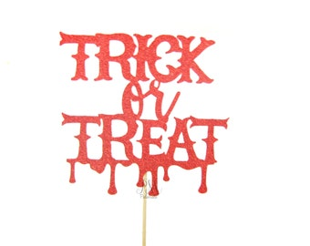 Red Glitter Trick or Treat Halloween Cake Topper - Glitter Cake Topper, Halloween Cake Topper, Halloween Party, Halloween Decorations