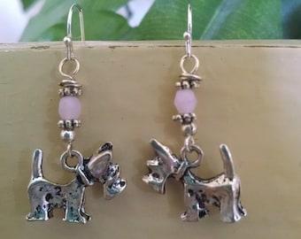 Scottish Terrier Earrings ,  Scottie Earrings ,  Scottie Dog Jewelry , Pink & Silver Earrings ,  Dog Earrings ,  Animal Lover Earrings