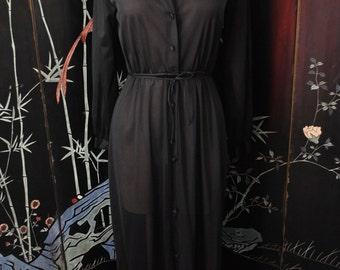 1960s Long Black Robe - Small