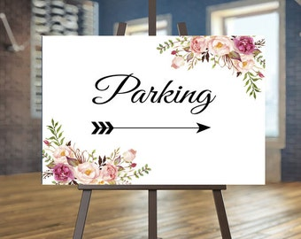 Printable Wedding Parking sign, Floral Directional sign, Blush directional sign, Elegant Directional sign, Arrow sign, Calligraphy sign