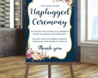 Navy unplugged sign, Unplugged Wedding Sign, Floral Wedding Sign, Unplugged Ceremony Sign Blush wedding Sig, Gold Wedding Sign Ceremony Bree