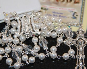 Catholic Swarovski Crystal and Pearl Rosary