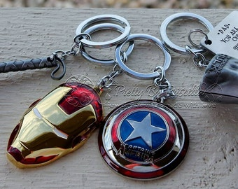 Superhero Avengers Father's Day Keychain from kids - Fathers Day Gift - Fathers Day from children - Hulk, Iron Man, Thor, Captain America