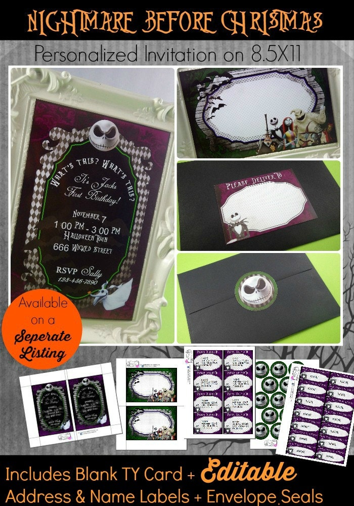 DIY Nightmare Before Christmas Invitation Nightmare Before