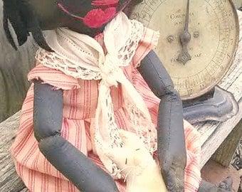 Black Raggedy Doll-Primitive Rag Doll-Black Raggedy Ann
