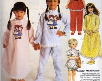 McCalls 8941, Raggedy Ann and Andy  Pattern for Little Girls Nightgowns, Baby Dolls, Pajama's Sewing Pattern, Size 6, 8  Uncut