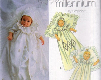 Simplicity 8853, Babies Christening Gown, Coat, Slip and Bonnet Sewing Pattern, Circa 1999, Simplicity Millennium ,  Babies 7 to 24 Pounds