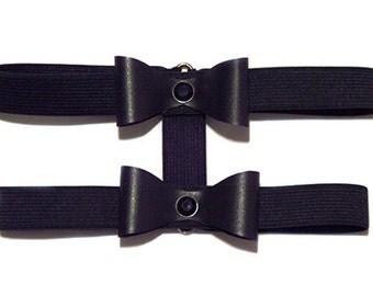 Black Elastic Double Layer Faux Leather Bow Diamante Garter