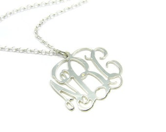 Monogram Necklace - 1.5 inch Initial Personalized - Sterling silver 925. gift for her, monogram gifts