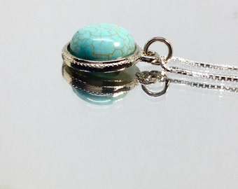 Turquoise Necklace Sterling Silver Turquoise Pendant Bezel Charm Round Cabochoon Silver Long Necklace Simple Stone Pendant