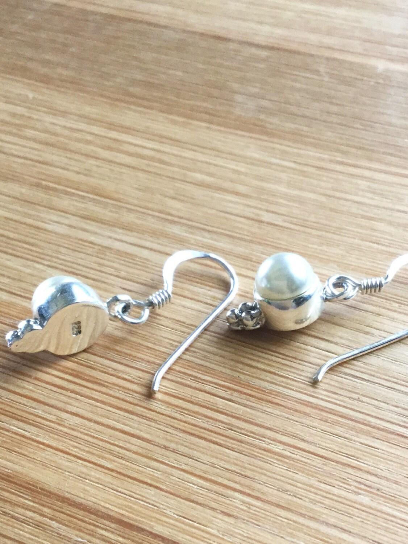 Pearl Earrings Sterling Silver Pearl Dangles Freshwater Pearl Bezel Earrings  Pearl Charm Bezel Silver Earrings Natural Genuine Pearls