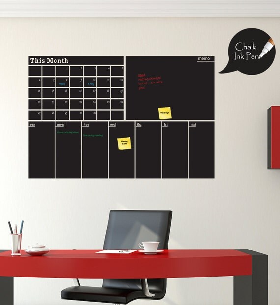 Triple Chalkboard Vinyl Calendar Decal by ShopSimplyPerfect