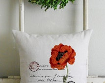 French Poppy Pillow Cover_home decor, spring, floral, vintage, cushion, throw pillow, gift, present.