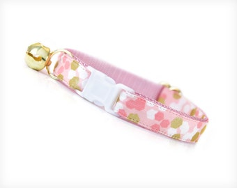 "Cat Collar - ""Confetti Party"" - Pink, White & Gold - Breakaway Safety Buckle or Non-Breakaway - Sizes for Cat, Kitten, Small Dog"