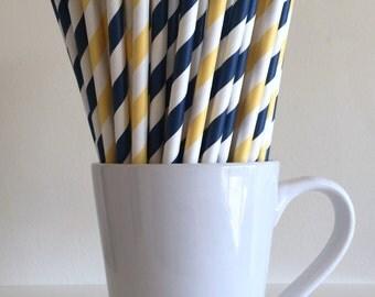Navy Blue and Yellow Striped Paper Straws Party Supplies Party Decor Bar Cart Cake Pop Sticks Mason Jar Straws  Party Graduation