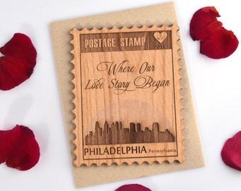Postage Stamp Valentines Day Card -  Love Card with Philadelphia City Skyline - Mini Card - Letters M thru P