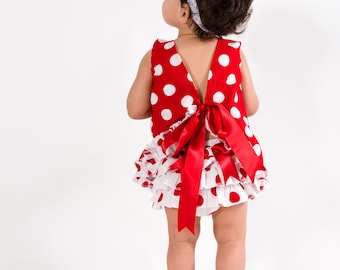 Babies Polka dots set,baby set,diaper cover,ruffled top,summer look,handmade,girls summer outfit,ready to ship