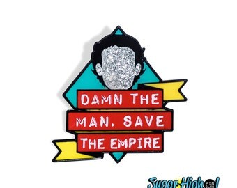 """Mark with a """"K"""". (Empire Records Inspired 1.25"""" Enamel Pin) *Damn the Man - 90s - Movie Quote - Rex Manning - Glitter - Cult - Rock n Roll*"""