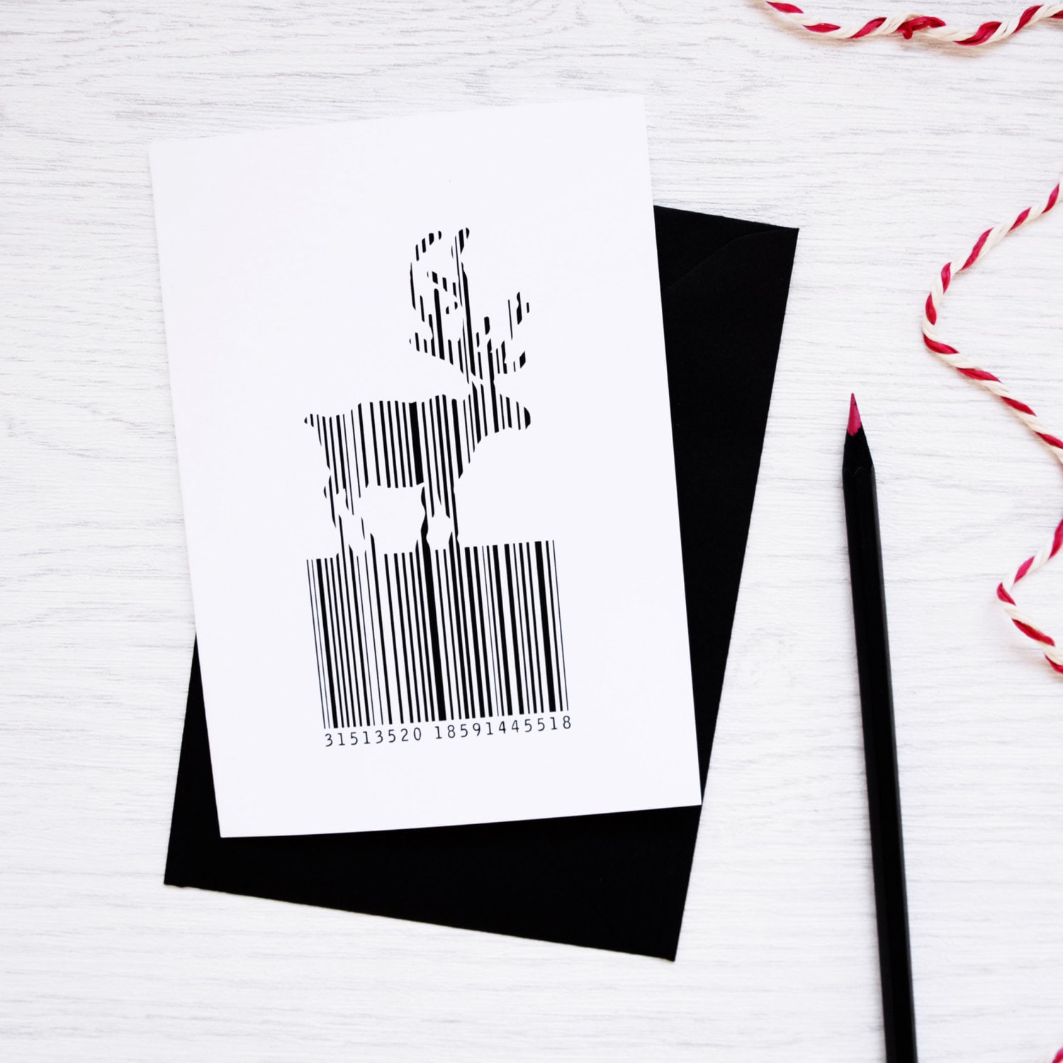 christmas barcode reindeer card packs unique black white