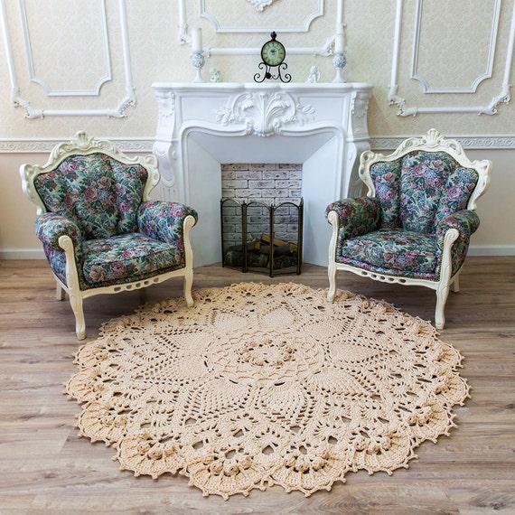 Big Crochet Rug Round Area Rug 73 In Doily Rug Yarn Lace