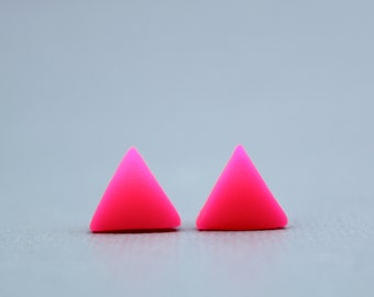 Neon Pink Triangle Earrings, Fluorescent Pink Triangle Earrings, Pink Triangle Earrings, Fluorescent Triangle Earrings, Festival Jewellery
