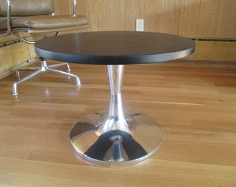 Mid Century Modern Polished Aluminum Tulip Style Hourglass End Table Bench Coffee Table Base