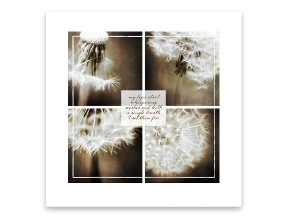 Dandelion Seeds. Fine Art Print with Quote. Unframed Wall Decor. Dreamy White Dandelions on Brown Background. Macros. Nature Photography.