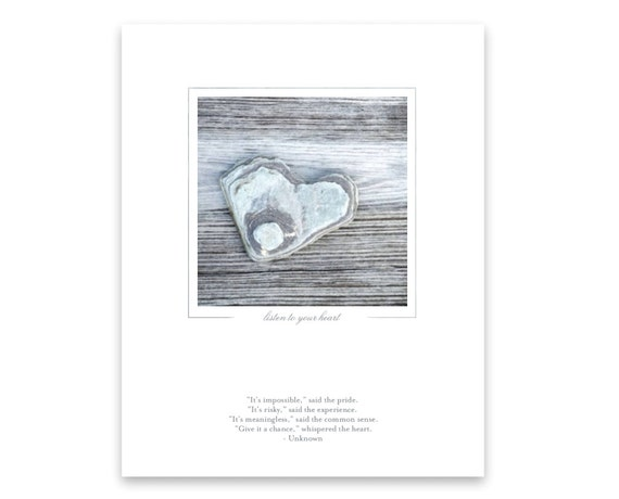 Support, Confidence, Hope, Inspirational Quote and Photo of Heart-Shaped Rock on Wood. Nature Photography. Photo Art Print.