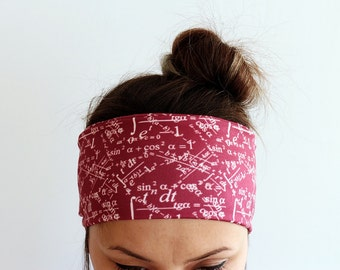 Fitness Headband - Yoga Headband - Workout Headband - Running Headband - Boho Headband Mathematics Headband Claret red Burgundy headband Y9