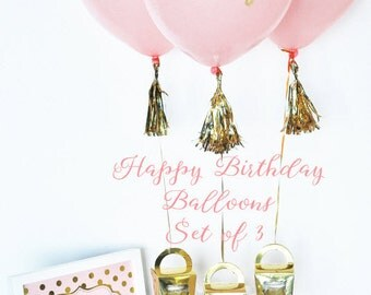 Pink Balloons, Pink Happy Birthday Balloons, First Birthday Balloons, Pink & Gold First Birthday Decorations, Pink Balloon Photo Prop