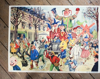 vintage french sociology school chart from the 1950's: at the tailor's and at the Carnaval