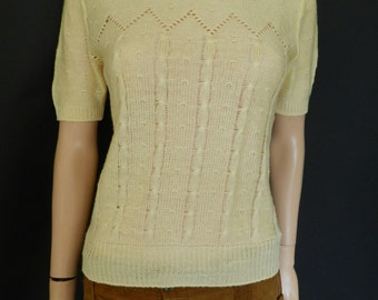 Vintage 1970's butterscotch yellow knitted jumper top  cable knit M