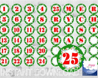 Printable Advent Calendar Numbers 1-25 Letters MERRY