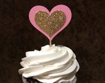 Pink and Gold Heart Cupcake Toppers