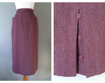 Vintage Dark Pink Skirt Dusty Rose Maroon Wiggle Skirt 1970's Pinup Midi Skirt 70s High Waist Wool Blend Woven Pockets Size Small Medium 6