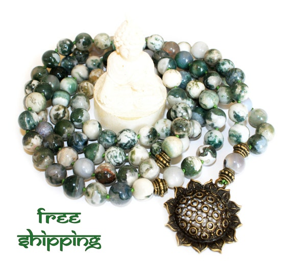 Japa Mala Hand Knotted 108 Gemstone Moss Agate 10mm Beads Prayer Yoga Necklace for Meditation and Mantra - Free Shipping