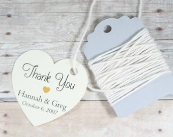 Personalized Heart Shaped Tags Set of 20 - Cream Heart Tags - Bridal Shower Tags - Wedding Favor Tags - Ivory Heart Thank You Tags - Gold