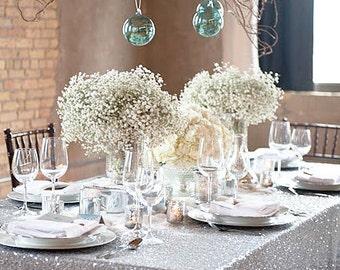 Good Silver Sequin Tablecloth, Rectangle Wedding Tablecloth, Sparkle Tablecloth, Glitter  Table Cover, Wedding