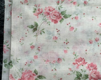 """Vintage Tiny Cabbage Roses Cotton Voile Fabric // 104x47"""" > delicate little pink cabbage roses and rosebuds > beautiful!!"""