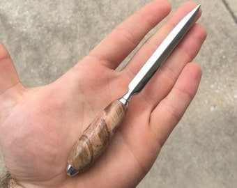 Wood Letter Opener - Handcrafted Ambrosia Maple Wood with Chrome Plating. Hand Made Woodturning
