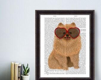 Pomeranian Dog gift Pomeranian mom gift Pomeranian owner Funny Pomeranian Heart sunglasses Pomeranian Dog Print Pomeranian Lover cute orange