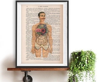 Botanic peony lungs anatomy print on 1900 vintage floral page retro anatomy man flower print body illustration dictionary page vintage drawing doctor gift illustration science art ccuart Image collections