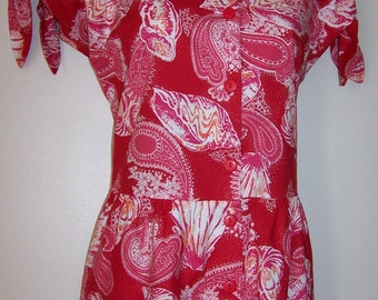 Laura Ashley vintage red paisley seashell print, playsuit jumpsuit dungarees, size Large