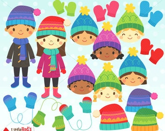 Winter Clothing Clip Art - Color and Grayscale - personal and commercial use