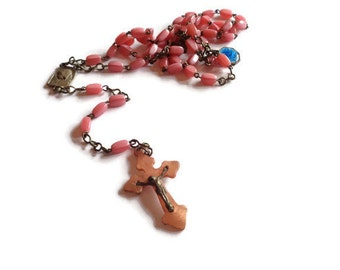 Vintage French Rosary from Lourdes . Pink Beaded Rosary .  Religious Cross . Catholic Jewelry .