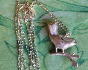 Fine Silver Bird On Branch Necklace