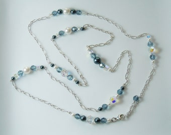 Indian Sapphire Swarovski Crystal Beaded Long Silver Chain Necklace