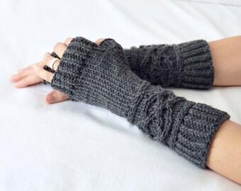 "Cable Knit Arm Warmers, Fingerless Mittens, Merino Wool Hand Warmers, Texting Gloves, Wrist Warmers, ""Viking"" Gloves, Custom Knitwear"