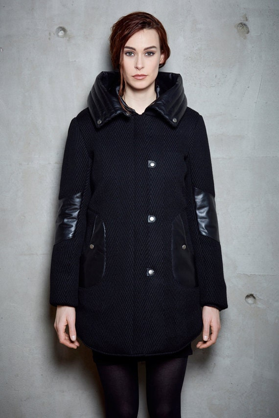 VLADIMIR - wool and leather winter coat with hood and softs pockets for womens - black